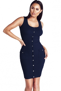 Women Sexy Plain Button Decoration Fitted Tank Bodycon Dress Navy Blue