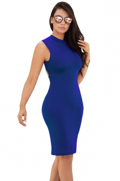 Women Sexy Cross Bandage Open Back Tight Club Wear Dress Blue