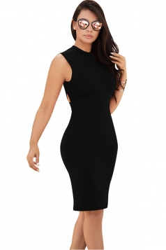 Women Sexy Cross Bandage Open Back Tight Club Wear Dress Black