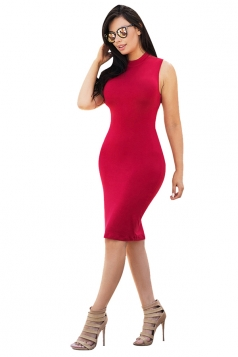Women Sexy Cross Bandage Open Back Tight Club Wear Dress Red