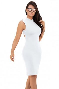 Women Sexy Cross Bandage Open Back Tight Club Wear Dress White