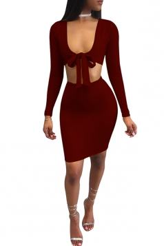Women Sexy Deep V Front Bow Midriff Bodycon Club Wear Dress Ruby