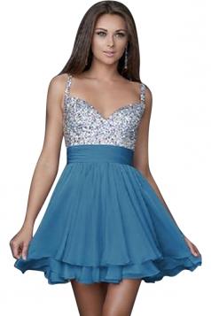 Women Sexy Strap Sequin Veil Layer Mini Evening Dress blue