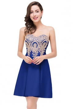 Women Elegant Sheer Neck Gold Applique Party Prom Dress Blue