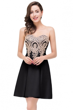 Women Elegant Sheer Neck Gold Applique Party Prom Dress Black