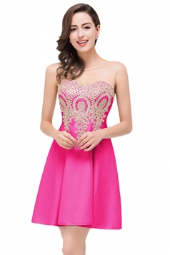 Women Elegant Sheer Neck Gold Applique Party Prom Dress Rose Red