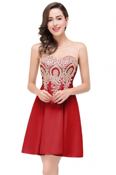 Women Elegant Sheer Neck Gold Applique Party Prom Dress Red
