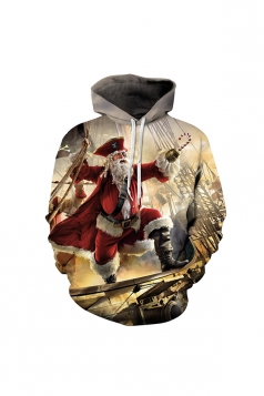 Digital Printed Pirates Of The Caribbean Christmas Hoodie Orange
