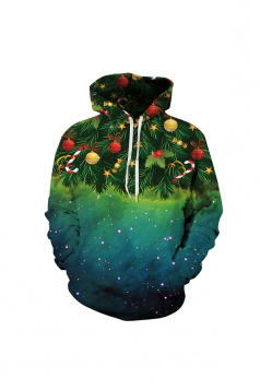 Digital Printed Christmas Tree Christmas Hoodie Green