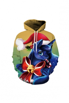 Digital Printed Unicorn Luna Christmas Hoodie Blue
