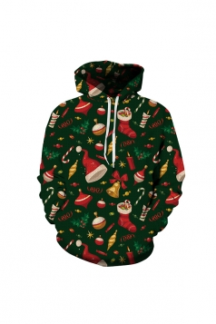 Christmas Decoration Digital Printed Hoodie Green