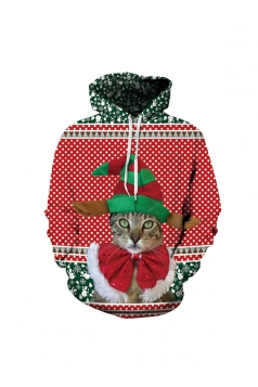 Christmas Cat Digital Printed Hoodie Red
