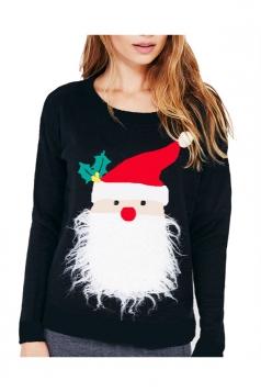 Women Stereo Santa Claus Long Sleeve Velvet Pullover Sweater Black