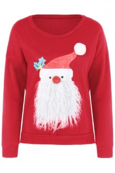 Women Stereo Santa Claus Long Sleeve Velvet Pullover Sweater Red