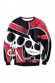 Skull Long Sleeve Halloween Sweatshirt Red