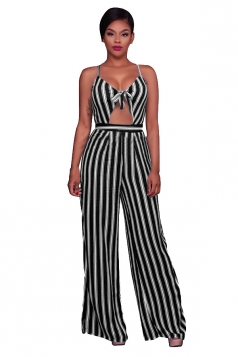 Women Sexy Strap Cut Out Stripe High Waist Wide Legs Jumpsuit Black