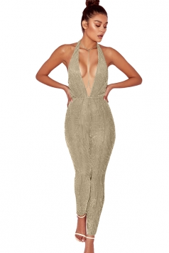Women Sexy Halter Deep V Backless Fitted Jumpsuit Gold