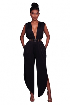 Women Sexy Deep V Side Split Back V High Waist Jumpsuit Black