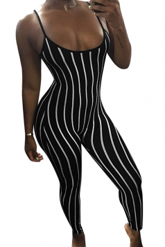 Women Sexy Stripes Fitted Strap Jumpsuit Black