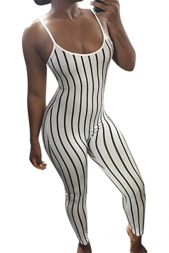 Women Sexy Stripes Fitted Strap Jumpsuit White