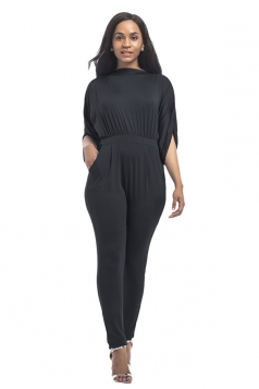 Women High Waist Cut Out Plain Half-Sleeve Elastic Jumpsuit Black