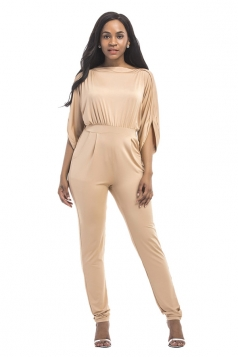 Women High Waist Cut Out Plain Half-Sleeve Elastic Jumpsuit Khaki