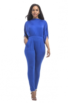 Women High Waist Cut Out Half-Sleeve Elastic Jumpsuit Sapphire Blue
