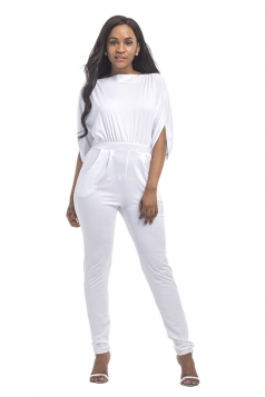Women High Waist Cut Out Plain Half-Sleeve Elastic Jumpsuit White