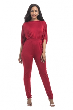 Women High Waist Cut Out Plain Half-Sleeve Elastic Jumpsuit Ruby