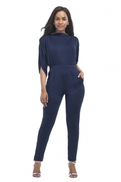 Women High Waist Cut Out Plain Half-Sleeve Elastic Jumpsuit Navy Blue