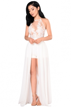 Women Sexy Halter Hight Waist Sheer Embroidered Jumpsuit White