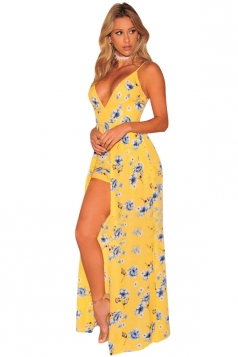 Women Sexy Deep V-Neck Spaghetti Straps Embroidered Jumpsuit Yellow