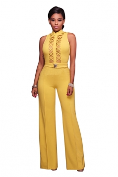 Women Sexy Cross Cut Out Gauze High Waist Wide Legs Jumpsuit Yellow