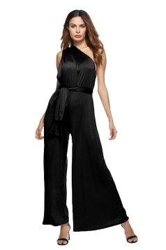 Women Sexy Wide Legs Bandage Jumpsuit Black