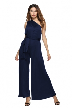 Women Sexy Wide Legs Bandage Jumpsuit Navy Blue