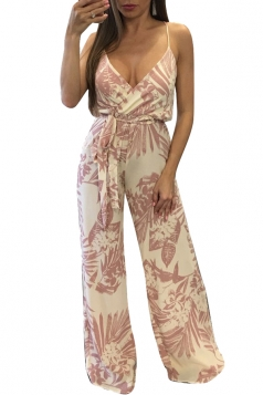 Women Sexy Strap Deep V Neck Printed Belt Wide Leg Jumpsuit Pink