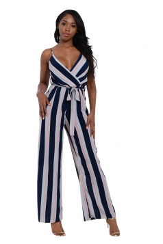 Women Sexy Strap Belt Stripes Printed Chiffon Jumpsuit Navy Blue