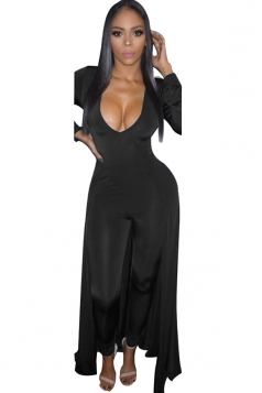 Women Sexy Deep V Neck Long Sleeve Skinny Jumpsuit Dress Black