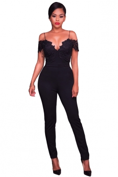 Women Lace Applique Spaghetti Straps Cold Shoulder Jumpsuit Black