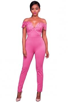Women Lace Applique Spaghetti Straps Cold Shoulder Jumpsuit Pink