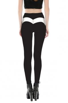 Women Stripe High Waist Skinny Printed Leggings Black And White