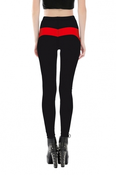 Women Stripe High Waist Skinny Printed Leggings Red