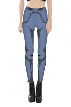Women Ankle Length Skinny Robot Printed Leggings Blue