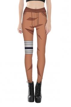 Women Ankle Length Skinny Digital Printed Leggings Brown