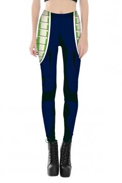 Women Ankle Length Skinny Robot Printed Leggings Green