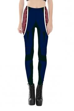 Women Ankle Length Skinny Robot Printed Leggings Red