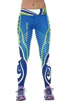 Women Digital Printed Yoga Sports Wear Leggings Blue