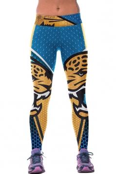 Women Digital Printed Yoga Sports Wear Leggings Yellow