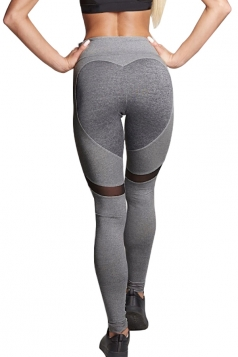 Women Mesh Patchwork Heart Shape Yoga Sports Wear Leggings Gray