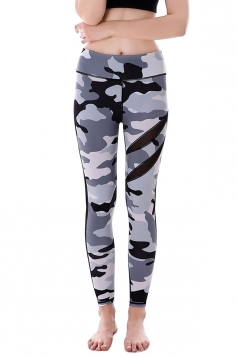 Women Mesh Patchwork Camouflage Yoga Sports Wear Leggings Light Gray